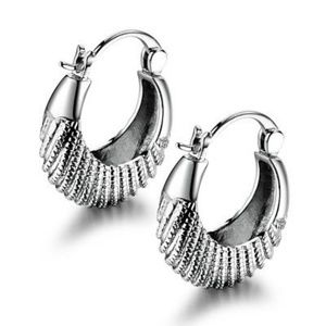 Jewelry - 18kt White Gold Big Dangle Omega Back Earrings